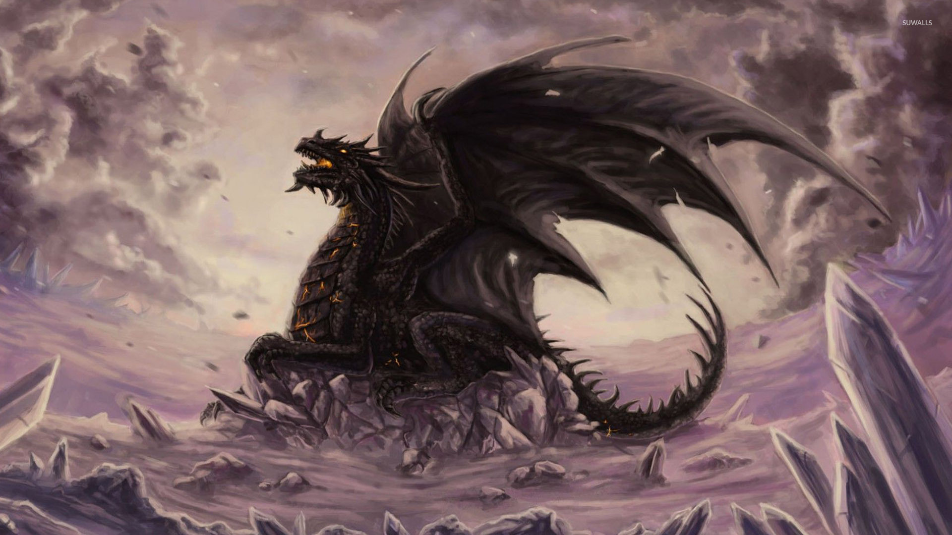 Dragon On The Cliff Wallpaper Fantasy Wallpapers 53174