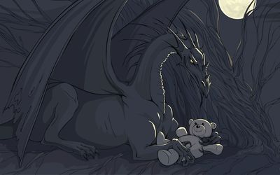 Dragon playing with a teddy bear wallpaper