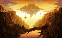 Dragons around the floating castle wallpaper 1920x1200 jpg