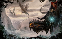 Dragons fight above the castle wallpaper 2560x1600 jpg