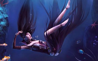 Drowning woman wallpaper