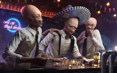 Drunk aliens in a bar wallpaper