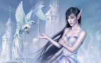 Elf girl with doves wallpaper 1920x1200 jpg