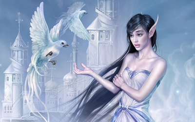 Elf girl with doves wallpaper