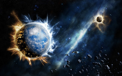 Exploding planets wallpaper