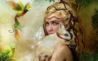 Fairy with her bunny wallpaper 1920x1200 jpg