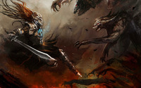 Fighting the dark monsters wallpaper 2560x1440 jpg