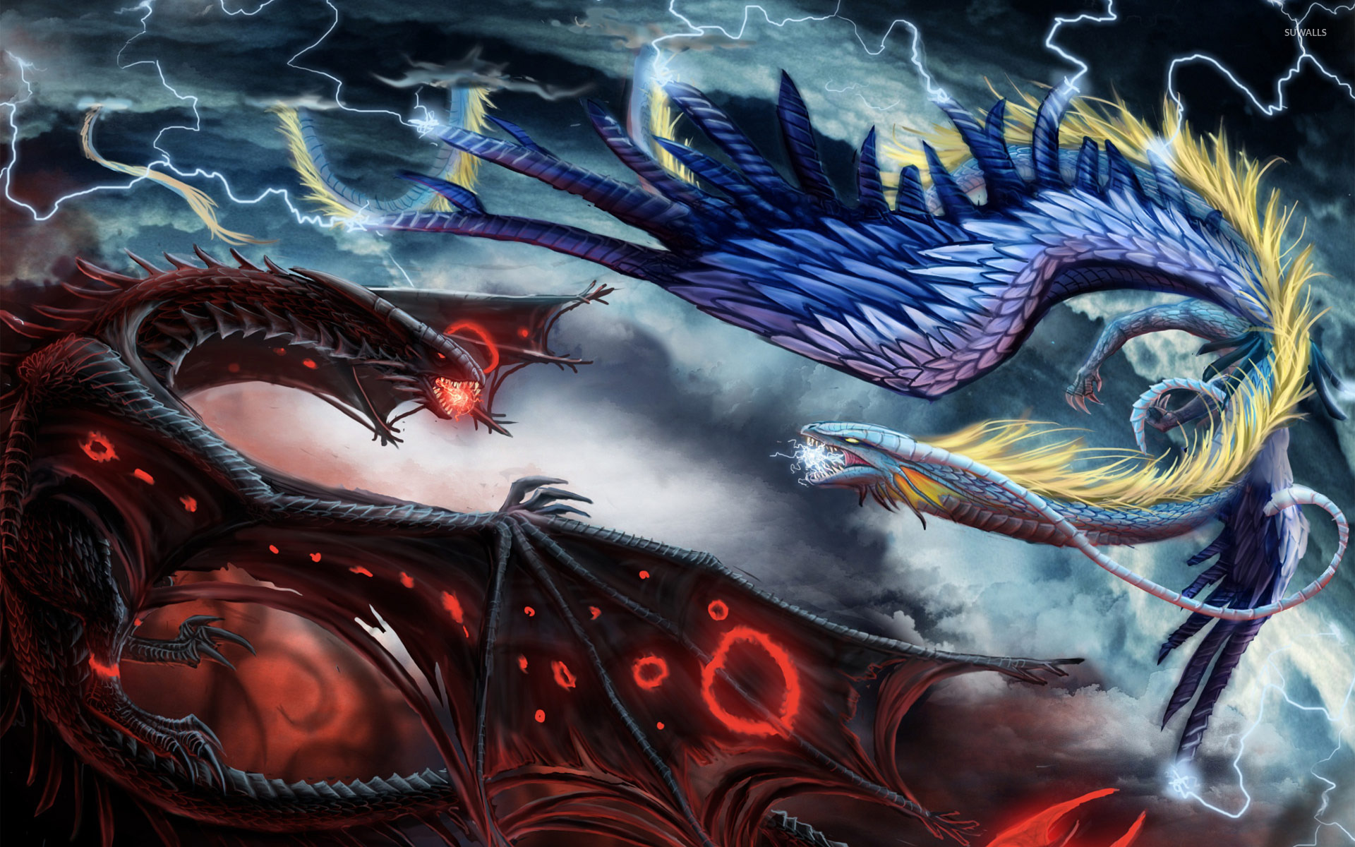Fire And Ice Dragon In Battle Wallpaper  Fantasy Wallpapers 19063