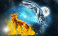 Fire and ice wolves wallpaper 2880x1800 jpg