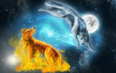 Fire and ice wolves wallpaper