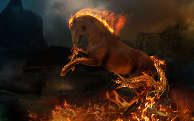 Flaming horse wallpaper