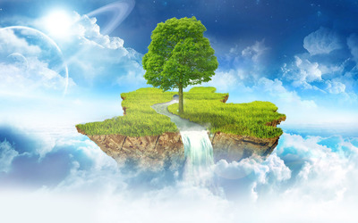 Floating island in the clouds wallpaper