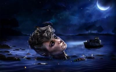 Floating woman's head wallpaper