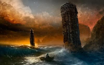 Flooded city wallpaper