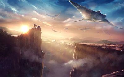 Flying stingrays wallpaper