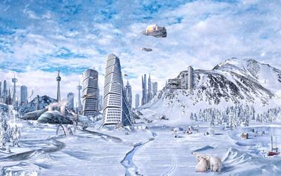 Frozen city wallpaper
