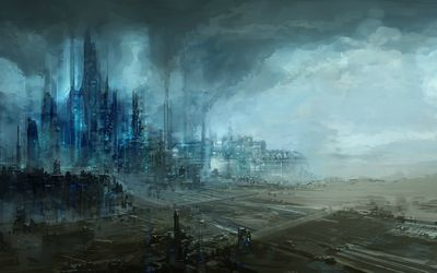 Futuristic industrial area wallpaper