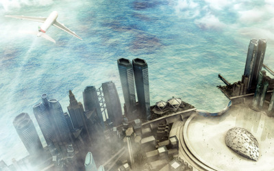 Futuristic seaside city wallpaper