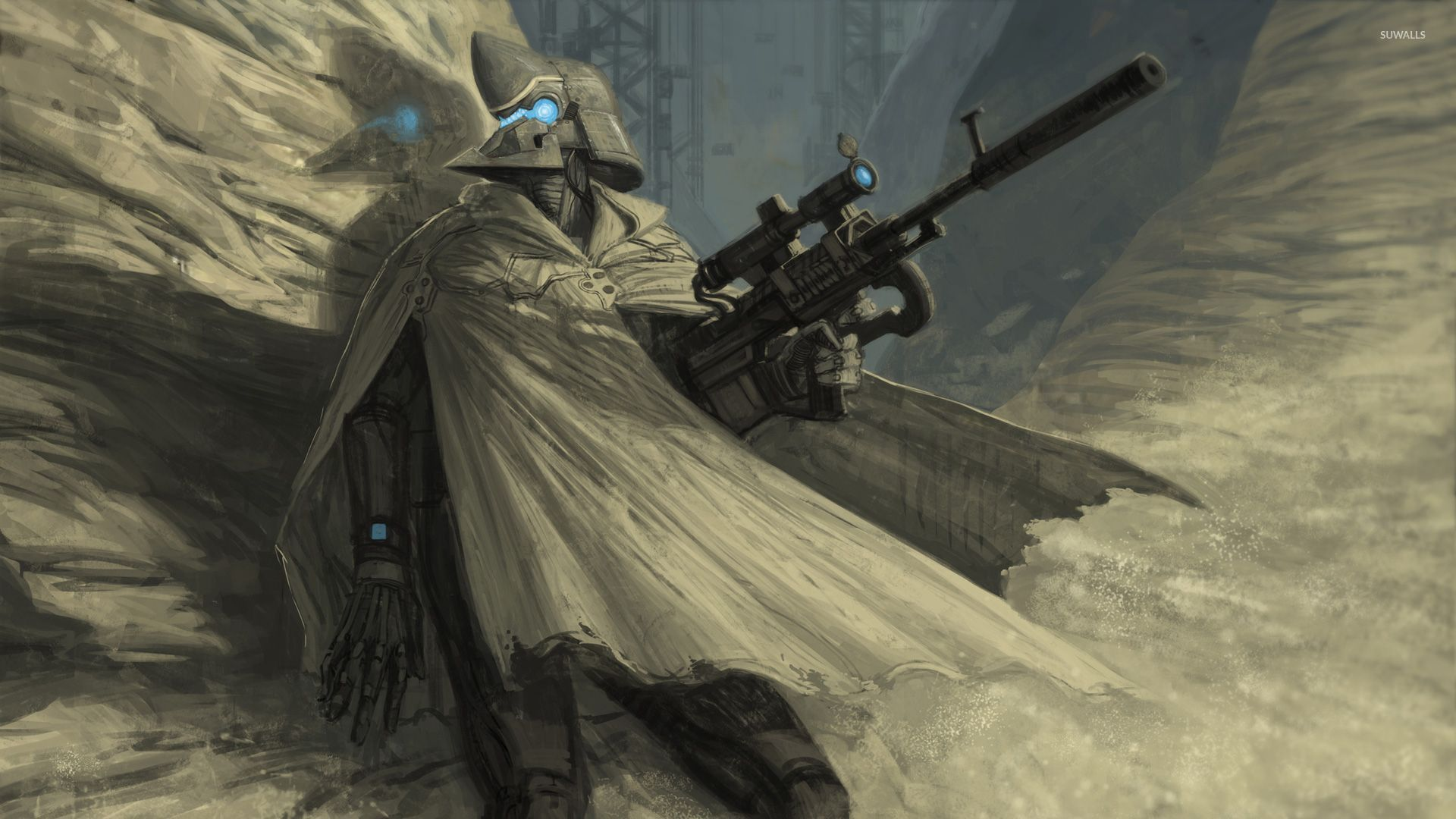 Futuristic Sniper Soldier Wallpaper