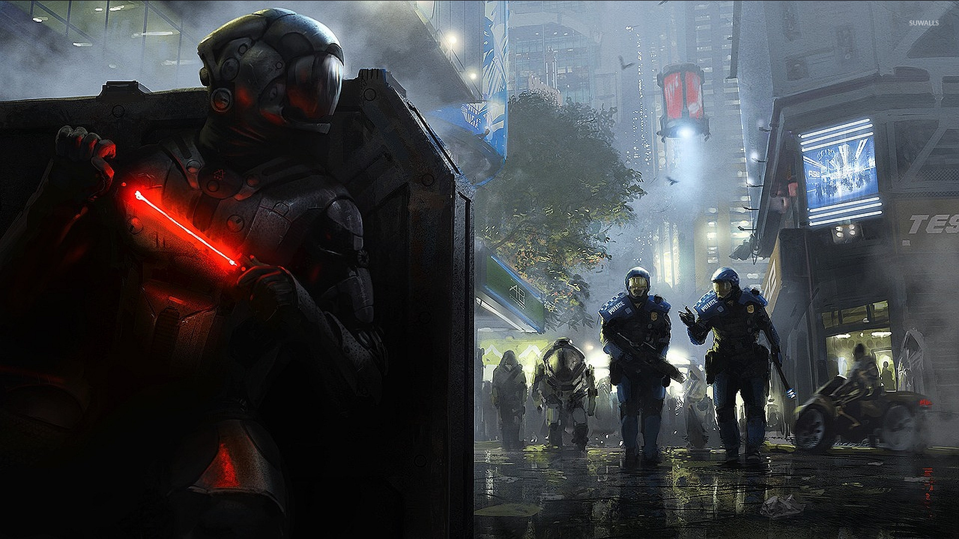 futuristic soldier hiding from the police wallpaper - fantasy