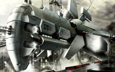 Futuristic spaceship wallpaper