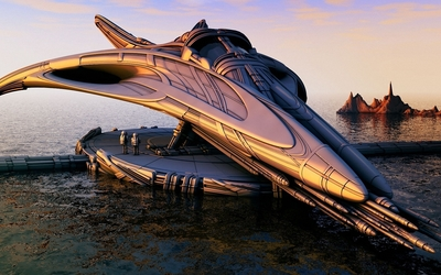 Futuristic spaceship design wallpaper