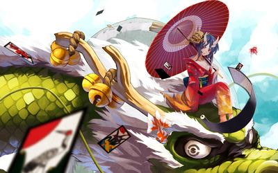 Geisha riding a dragon wallpaper