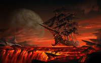 Ghost ship floating on lava wallpaper 2560x1600 jpg