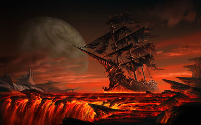 Ghost ship floating on lava wallpaper