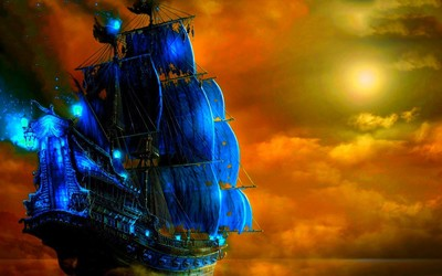 Ghost ship in the sunset wallpaper