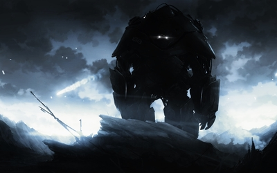 Giant robot in the mountains wallpaper