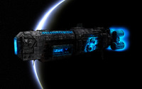 Giant spaceship passing the planet wallpaper 1920x1200 jpg