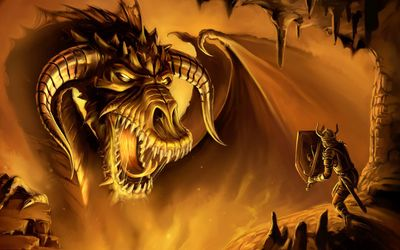 Gigantic dragon fighting with a brave warrior in a cave wallpaper