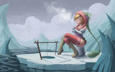 Girl ice fishing wallpaper