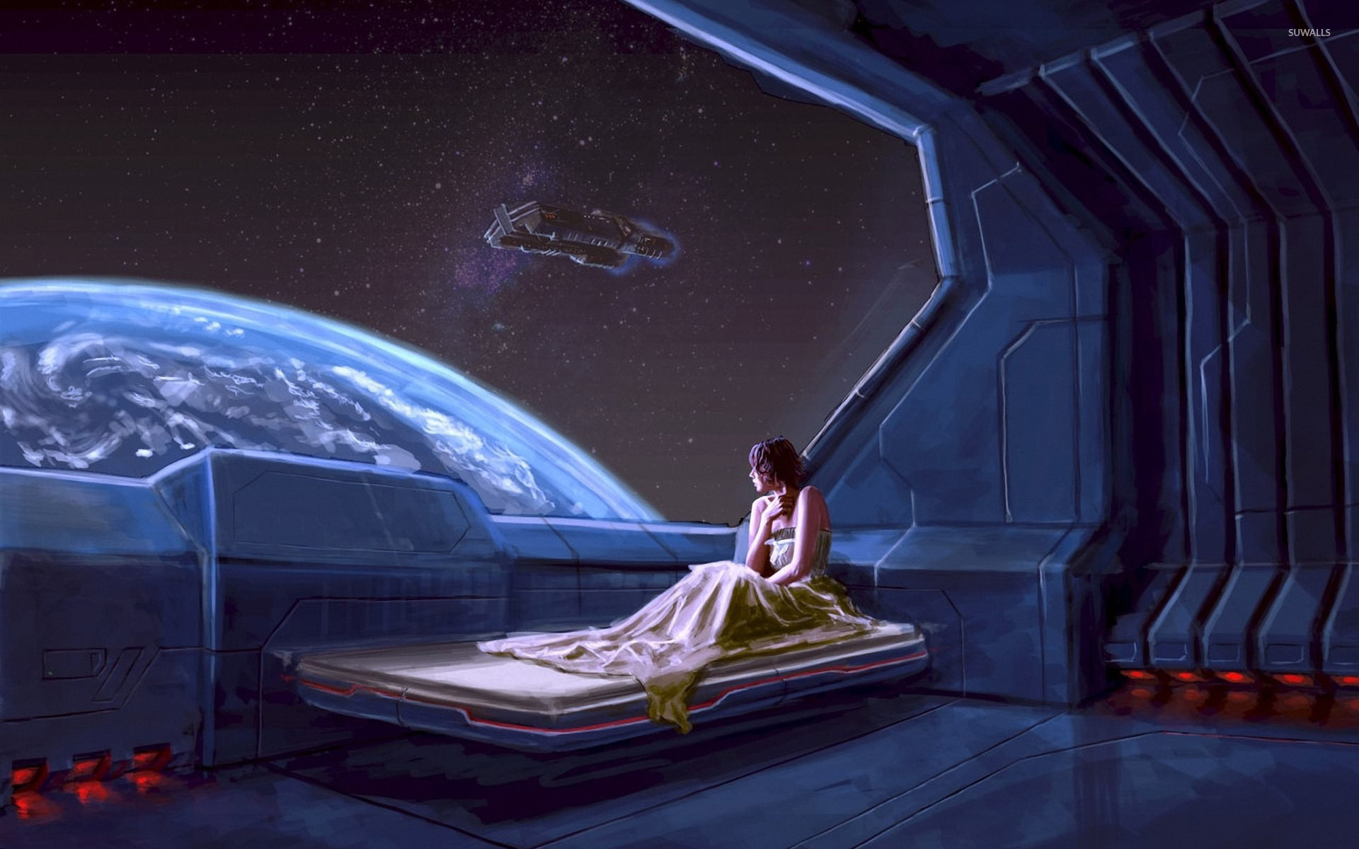 Girl In A Spaceship Wallpaper Fantasy Wallpapers 12477