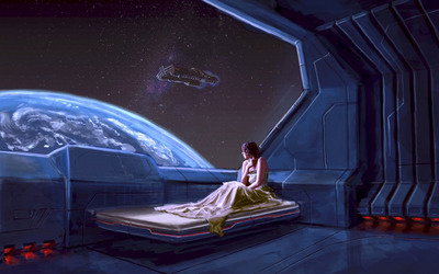 Girl in a spaceship wallpaper