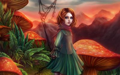 Girl in mushroom field wallpaper
