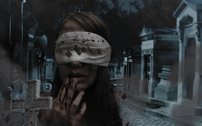 Girl in the cemetery wallpaper