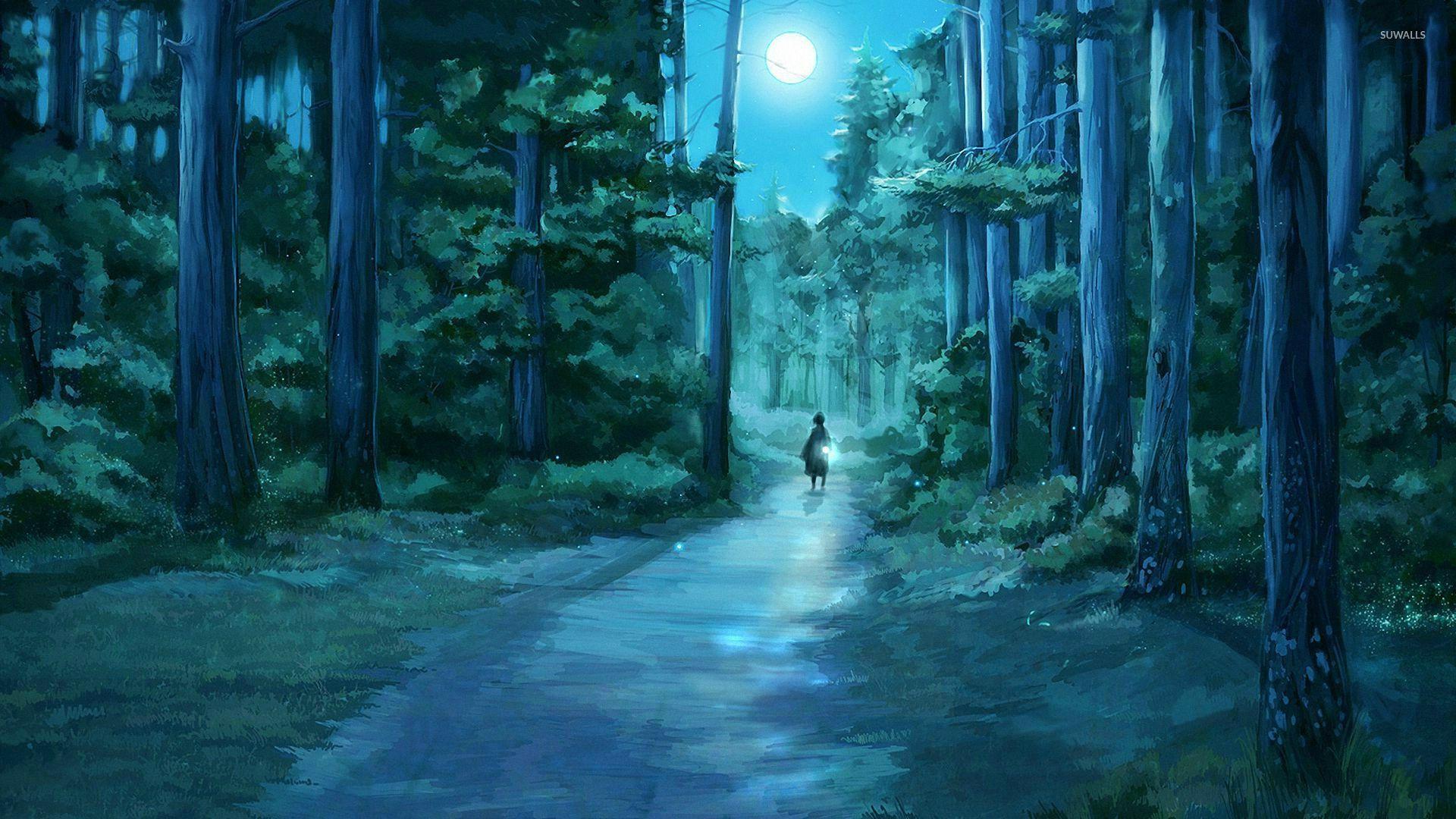 Simple Wallpaper Forest Girl - girl-through-the-moonlit-forest-27155-1920x1080  2018_981375 .jpg