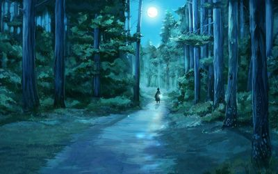 Girl through the moonlit forest wallpaper