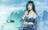 Girl with flute wallpaper 1920x1200 jpg