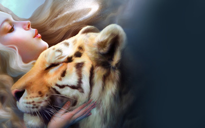 Girl with pet tiger wallpaper