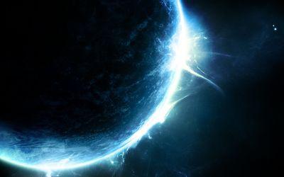 Glowing blue planet wallpaper
