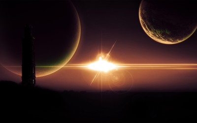 Glowing star and planets in the sky wallpaper