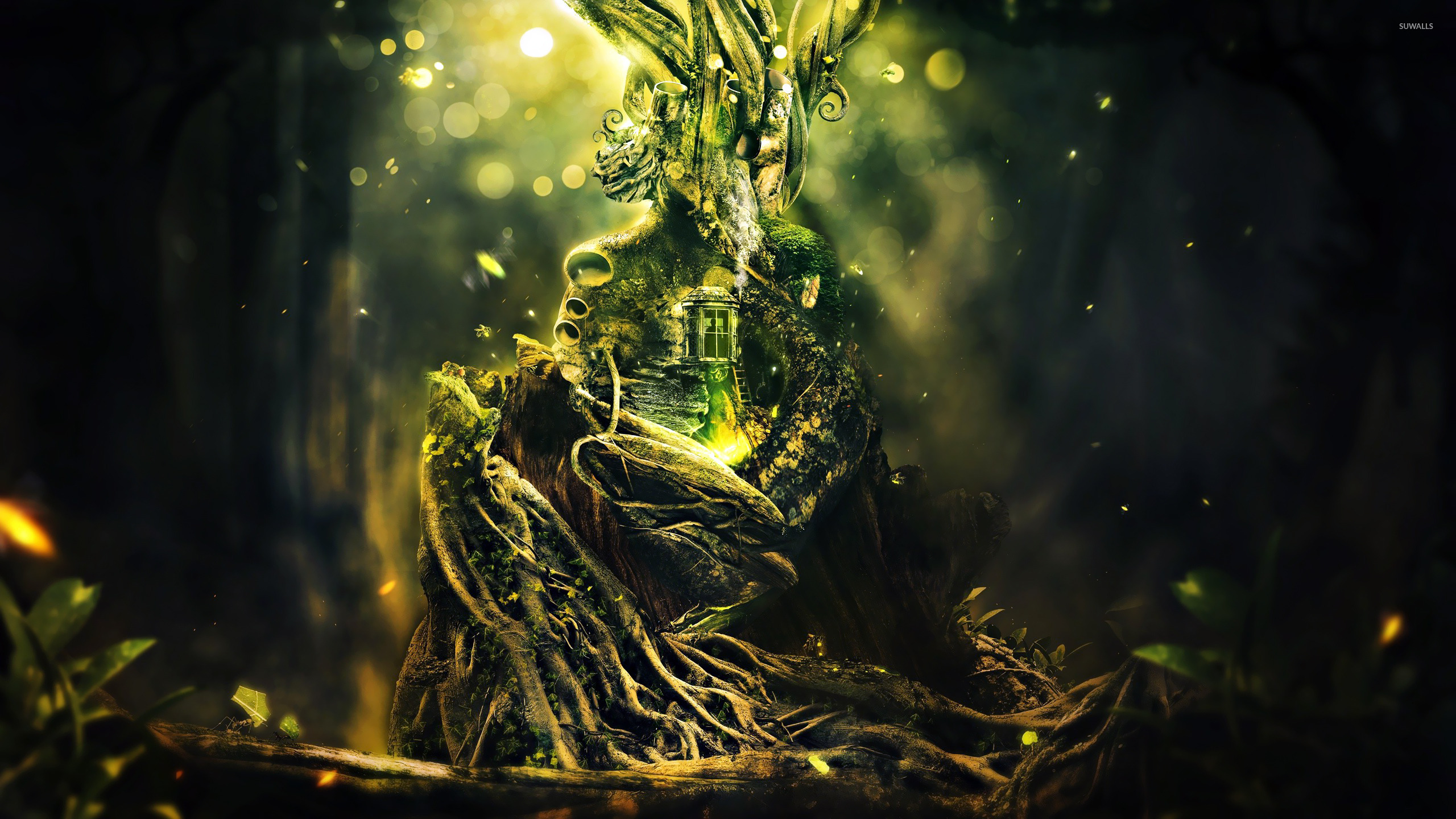 Glowing Tree House Wallpaper Fantasy Wallpapers 21940