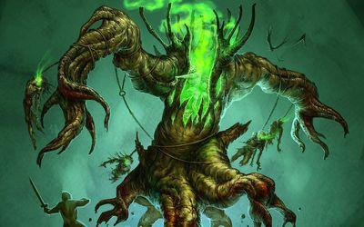 Green tree monster wallpaper