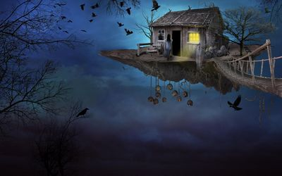 Haunted floating house wallpaper