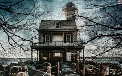 Haunted lakeside house wallpaper