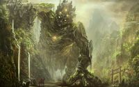 Knight facing a forest creature wallpaper 2560x1600 jpg