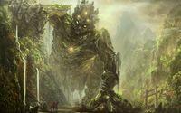 Knight facing a forest creature wallpaper 2560x1600 jpg